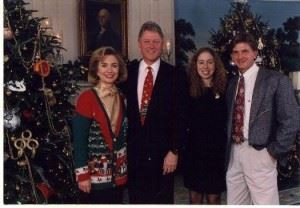 Lonnie Grigsby (L), Jerry Kemp's partner in this year's Sunny King, stands with President Bill Clinton and family for a White House Christmas picture. Grigsby is a second cousin of the former president. (Photo courtesy Jerry Kemp)