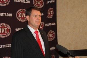 John Grass addresses the OVC media for the first time as Jacksonville State's head coach Monday. In the main photo, Chris Landrum (R) and Grass talk about the season ahead. (Photos courtesy Ohio Valley Conference)