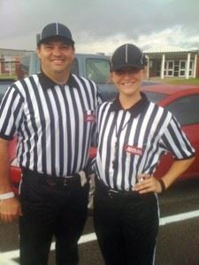 Allen Gilbert (L) will serve as referee and Kayla Rooks will work the chains during the Champions Challenge game between Carver-Montgomery and Opelika later this month. (Photo courtesy Allen Gilbert)