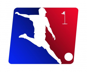 "Here is the American FootGolf League logo. In the cover photo, a player hits his ""drive"" in a FootGolf event (notice the golf tee next to his plant foot)."