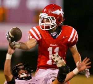 Ohatchee receiver Blayde Crump focuses on pulling in a pass. Crump caught the first of Taylor Eubanks' three second-half touchdown passes Friday night.