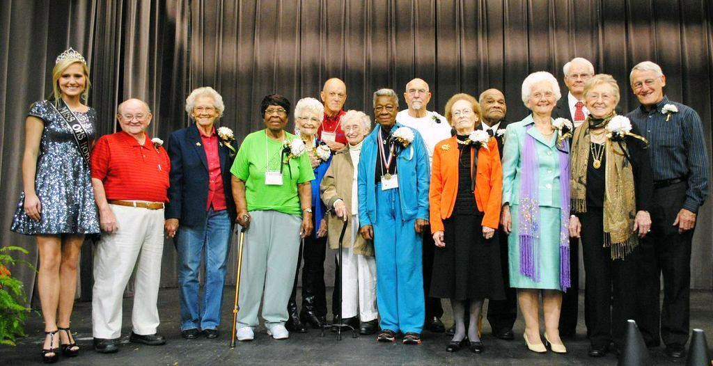 Here is the Homecoming Court for the 2014 Masters Games of Alabama. The oldest male and female participant from each district make up the court, with the eldest male and female being crowned king and queen.