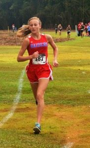 Pleasant Valley's Rachel Faucett leads the girls field to the finish line.