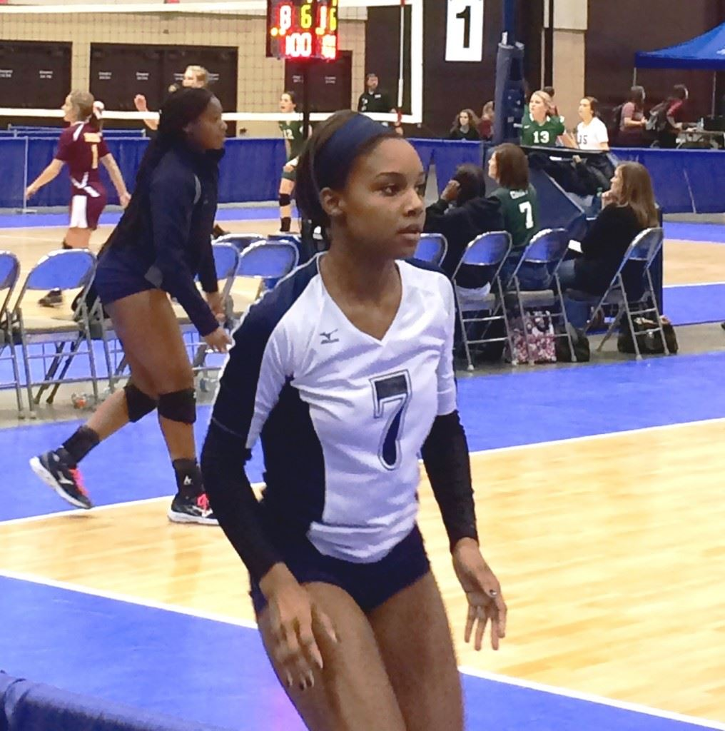 Jacksonville outside hitter Blessing Dunn warms up before Saturday's Class 4A North Super Regional final against Danville.