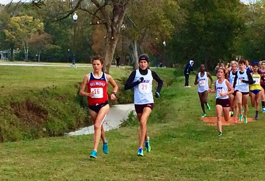 Belmont's Hannah Wittman (L) and Eastern Kentucky's Ann Eason set the pace in the OVC women's race at Oxford Lake Park.