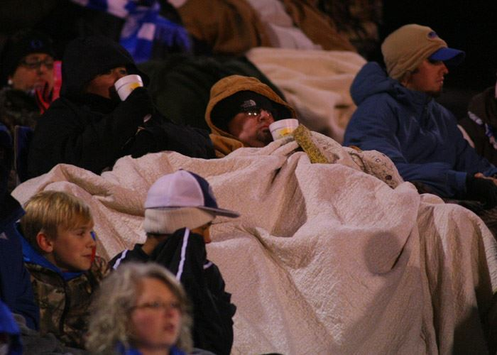 Football fans all across the state were bundled up against the elements Friday night. (Photo by Greg McWilliams)