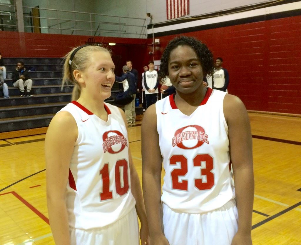 Morgan Lee (10) and Joria Steger give Ohatchee one of the most dynamic outside-inside combinations in the county. They combined for 41 points Wednesday in the Cleburne County Holiday Invitational girls title game.