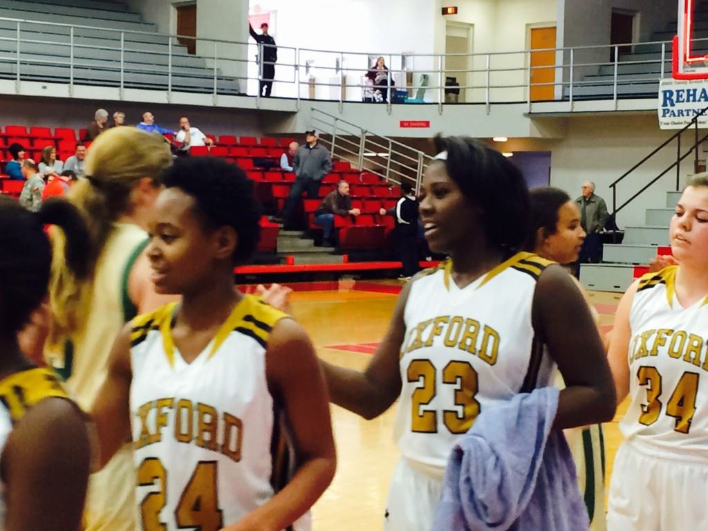 Oxford's Ebony Kelley (23) enjoyed another monster game in the post for the Yellow Jackets.