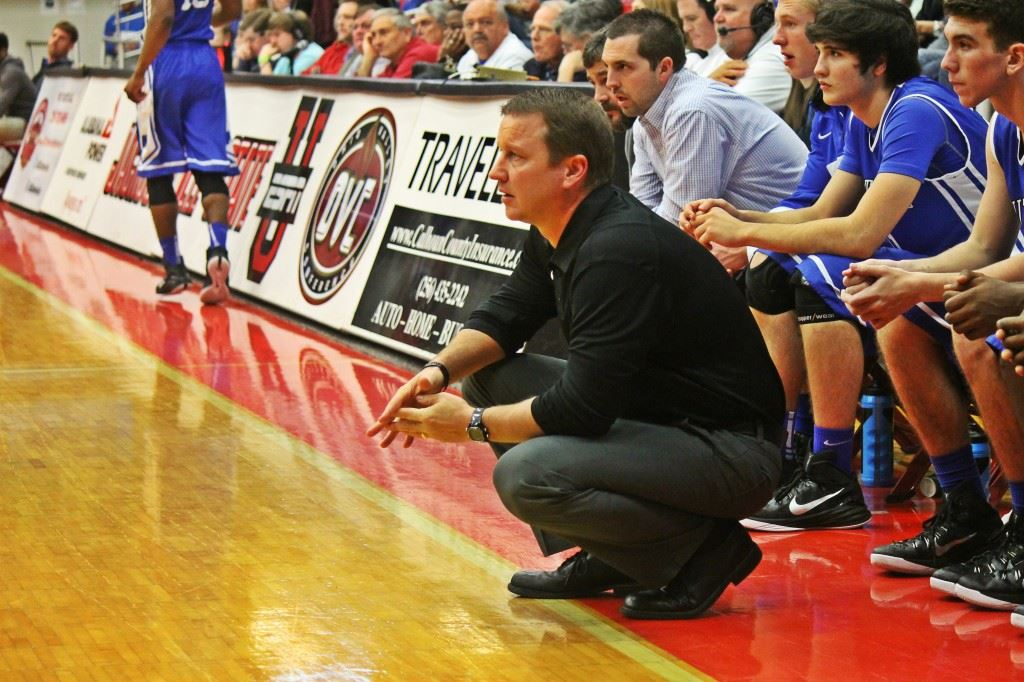 Chris Randall watches the action unfold during Wednesday's County Tournament game with Piedmont. (Photo by Chad Barnett)