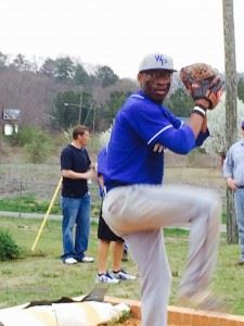 White Plains left-hander Kevin Carr warms up in the bullpen prior to his second-game start against Saks.