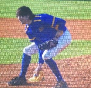 Piedmont pitcher Peyton Whitten retrieves his cap after throwing another pitch against Wellborn. (Special photo)