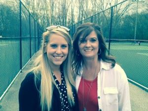 Oxford tennis coaches Hayley Loeken (L) and Kim Bolton. Loeken is in her first season with the Jackets' boys; Bolton coaches the Jackets' girls. (Photo by Brant Locklier)