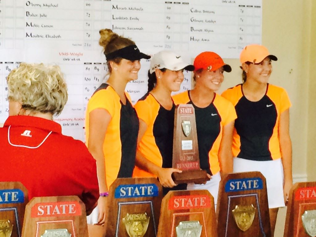 The Alexandria girls golf team stands with its state runner-up trophy.