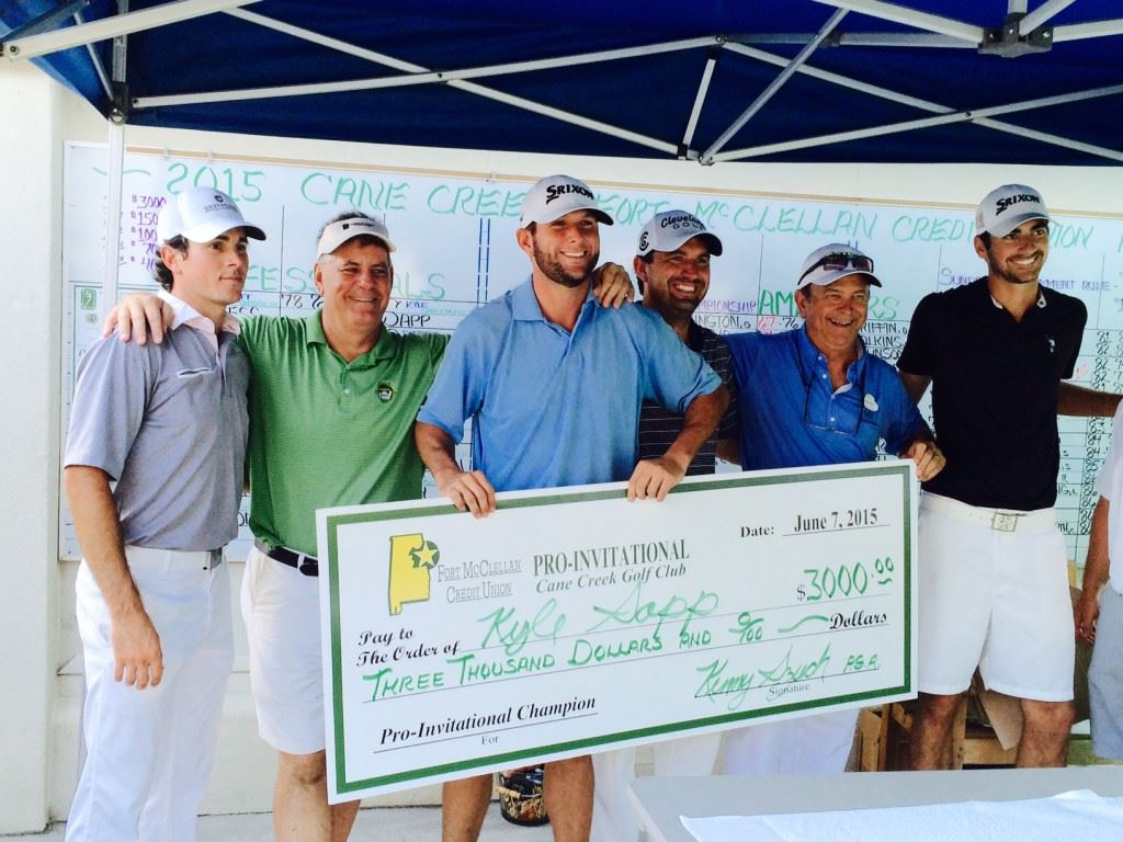 Kyle Sapp (C) stands with the winners' check Sunday surrounded by (from left) runner-up Zach Portemont, Emerald Coast Tour director Geno Celano, Jaylon Ellison, Cane Creek director of golf Kenny Szuch and third-place finisher Mason Seaborn.