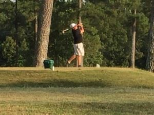 Adam Lawrence hits his tee shot on 17 in the Dub Ellis Invitational to 10 feet.