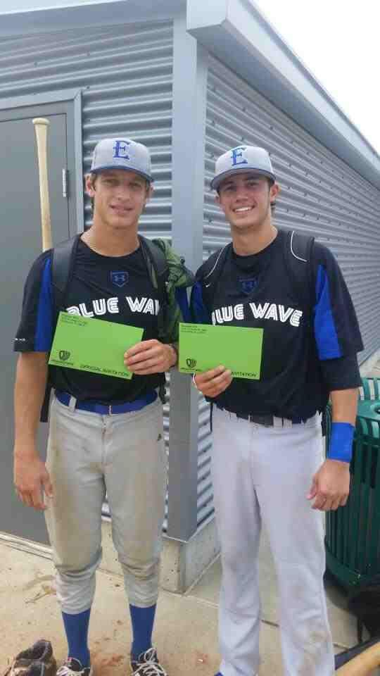 Oxford's Jacob Sears (L) and Vestavia's Christian Cusimano were invited to the Prospect Wire All-American Games after Excel Blue Wave 16U went 3-1 in Nashville this weekend.