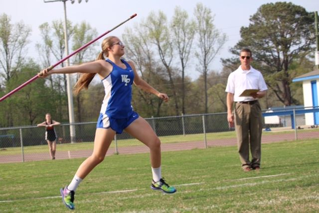 Rising White Plains junior Grey Young throws the javelin during a high school meet earlier this year. (Photos courtesy of Krista Young)