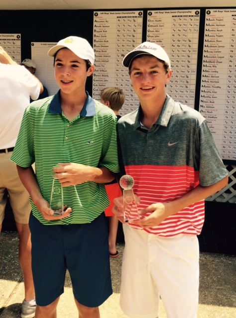 Jacob Lecroy (R) and 14-15 division winner Andrew Graves display their awards from the State Junior Championship.
