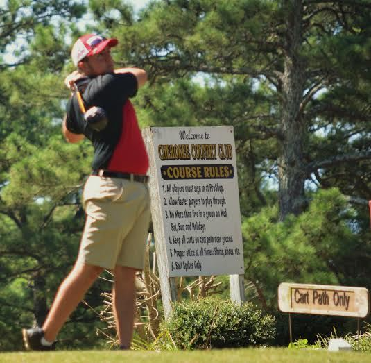 Jake Minnix rips a drive in the opening round of James Jackson Memorial at Cherokee County CC.
