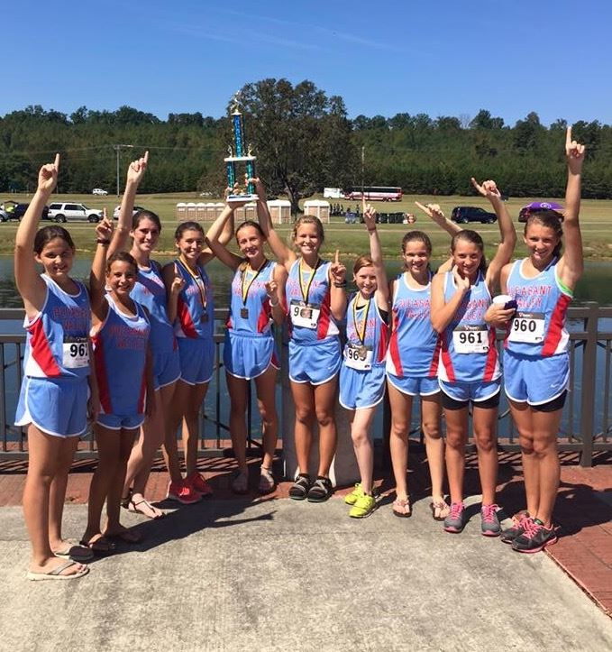 The Pleasant Valley girls cross country team celebrates its victory in Scottsboro. (Photo courtesy of Brad Hood)