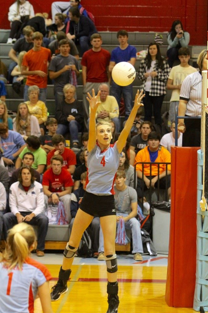 Pleasant Valley's Cammy Cochran was named area tournament most valuable player. She scored 22 of her 38 kills in the title match against Wellborn. (Photo by Krista Walker)