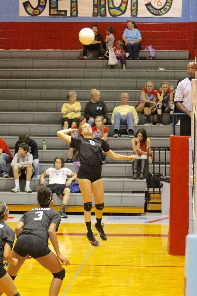 Wellborn's Liz Wyatt goes up for one of her 20 kills in the area semifinals against Weaver. (Photo by Krista Walker)