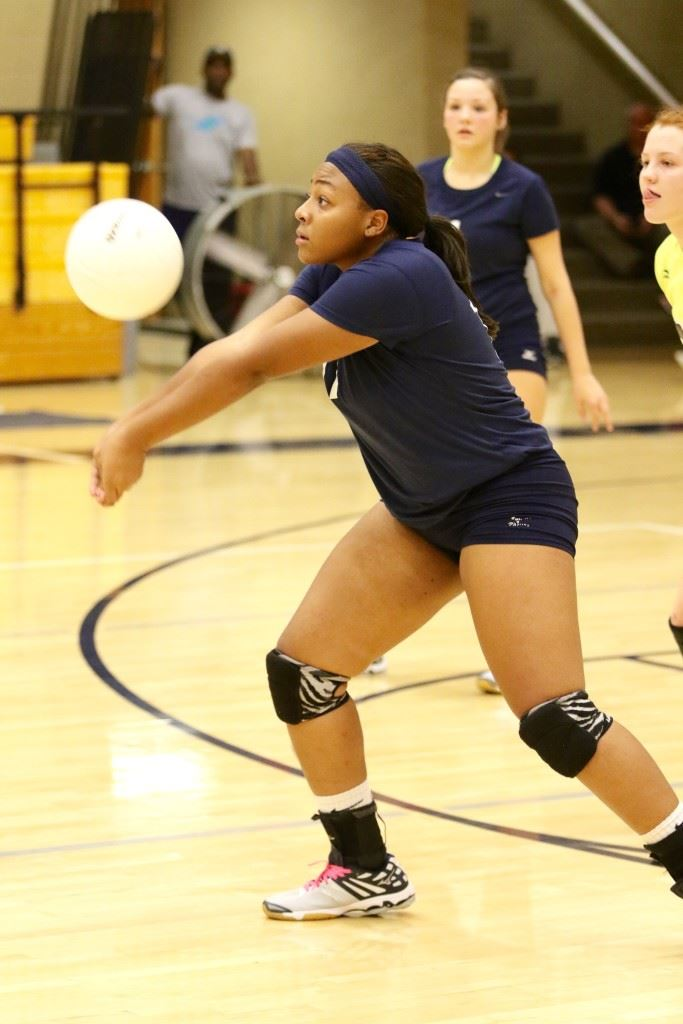 Jacksonville's Aniyah Robinson was overpowering at times Tuesday night. She had 12 of her tournament 23 kills and four aces in the championship match. (Photos by Kristen Stringer/Krisp Pics Photography)