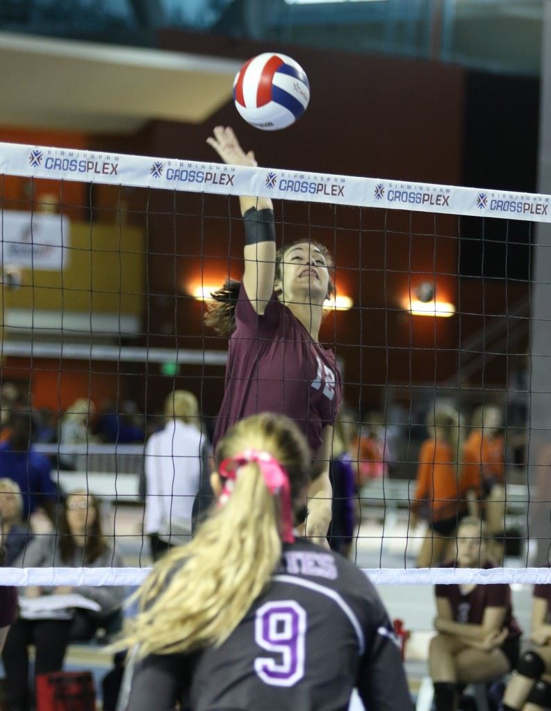 Peyton Suco goes high above the net to score a kill in Donoho's Elite Eight victory over Fruitdale. (Photo by Kristen Stringer/Krisp Pics Photography)