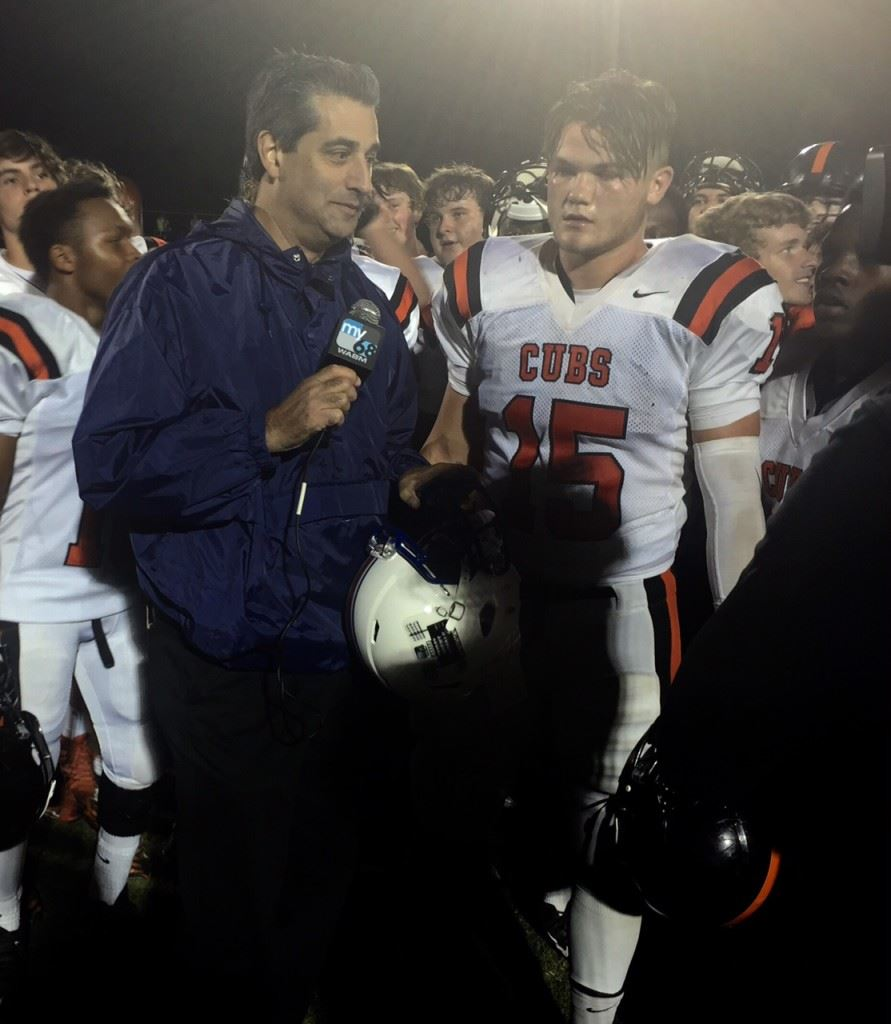 Alexandria's Jacob Heathcock prepares to get some serious TV time after making several big plays in the Valley Cubs' win at Mortimer Jordan Friday night. (Photo courtesy of David Shaw)