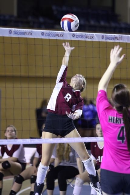 Camryn Swain's serves and shot placement played a key role in Donoho's victory over Decatur Heritage that propelled the Lady Falcons into the Class 1A championship match. (Photo by Kristen Stringer/Krisp Pics Photography)