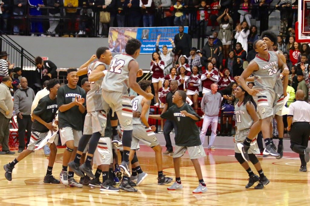 Capturing the moment of victory as Anniston celebrates its Calhoun County Tournament victory over Sacred Heart. (Photo by Kristen Stringer/Krisp Pics Photography)