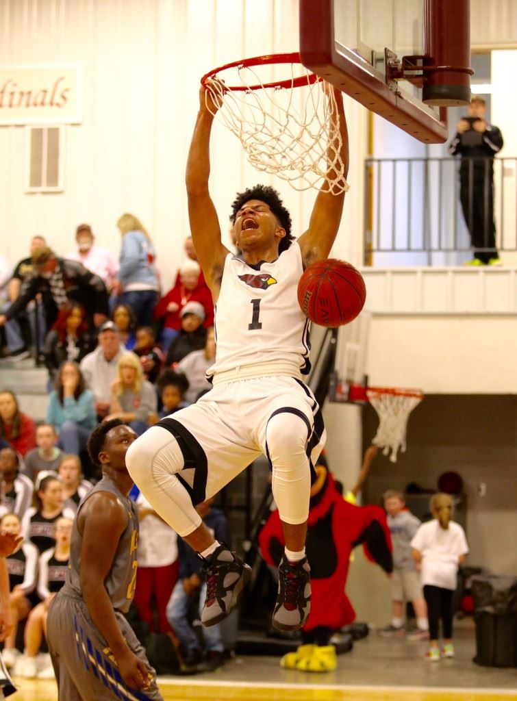Here's the best shot yet of another monster dunk by Sacred Heart's Diante Wood (Photo by Kristen Stringer/Krisp Pics Photography)