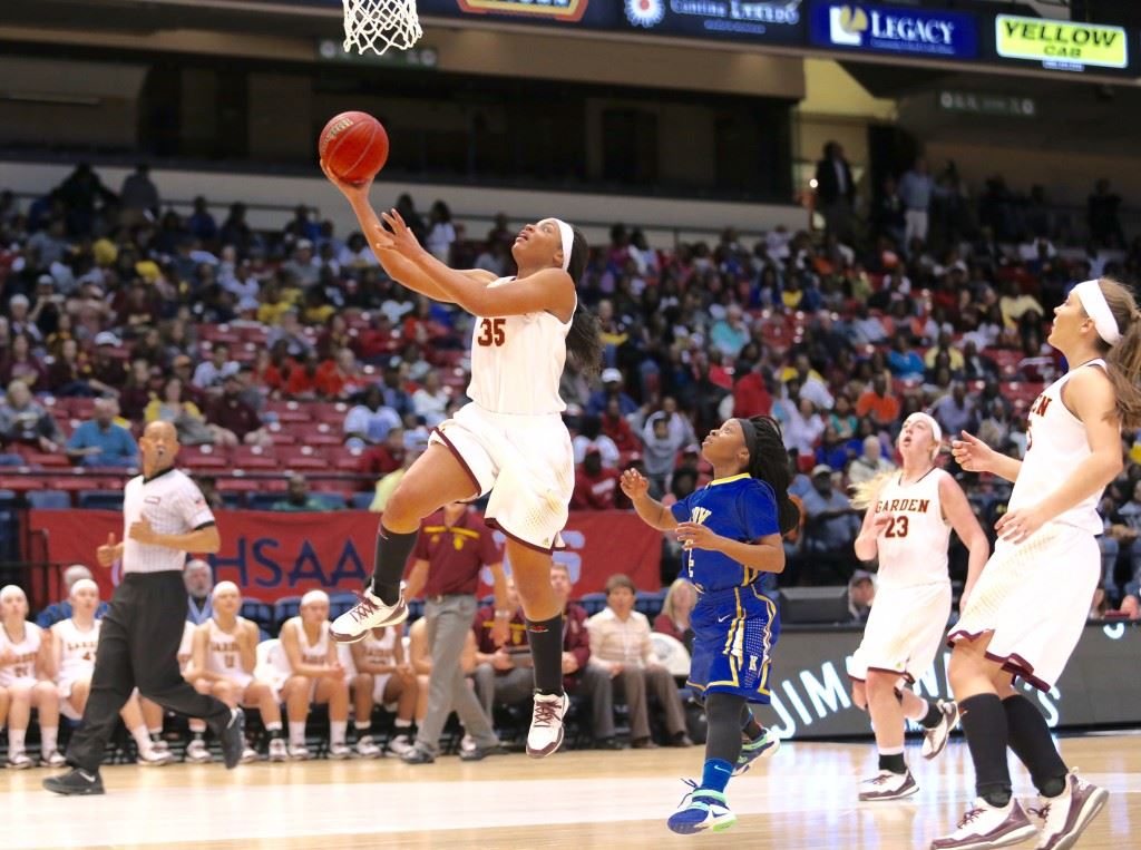Tykeah Rogers (35) gets behind everybody for a fast-break layup in Monday's Class 1A girls state semifinal game. (Photos by Kristen Stringer/Krisp Pics Photography)