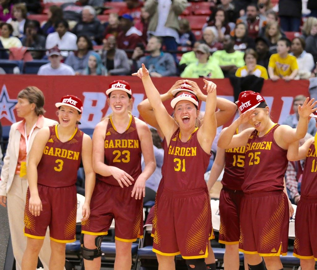 Spring Garden players (from left) A.J. Broome, Madison Sides, Payton McGinnis and Savannah Dempsey celebrate winning the state championship Thursday. (Photos by Kristen Stringer/Krisp Pics Photography)
