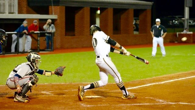 Brennan McCullough drove in the first run scored on the signature baseball field at Choccolocco Park Friday night. He also reached base all six times he batted in the doubleheader. (Photo by B.J. Franklin)