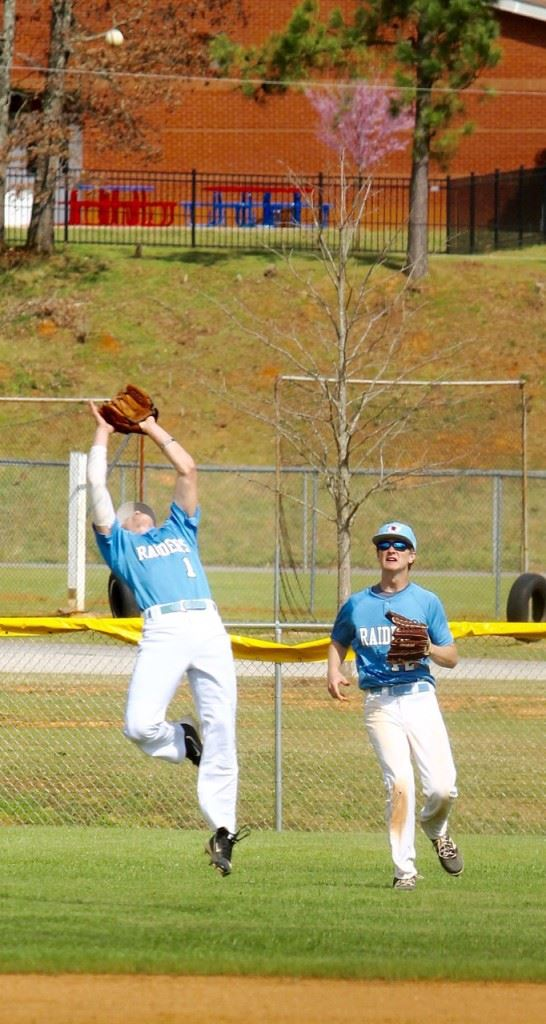 Dakota Jones reaches back to make a play early in the game. Jones was involved in six of the first seven outs Pleasant Valley got in the game. (Photo by Krista Walker)