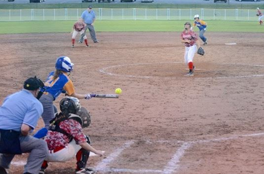 Rachel Baggett lays down a bunt during Piedmont's 3-2 second-round win over Ohatchee. (Photo by B.J. Franklin/GungHo Photos)