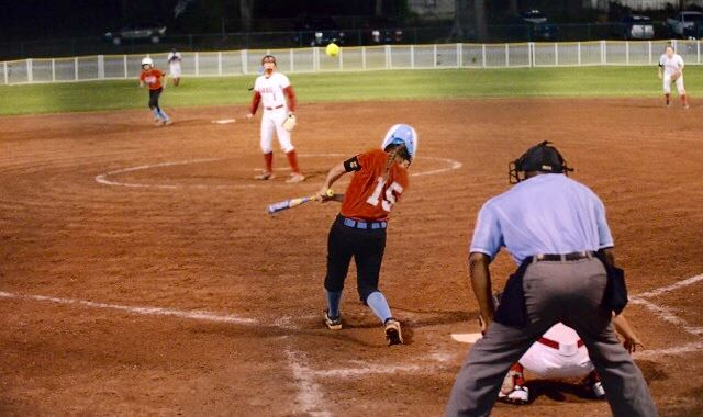Savannah Williams connects on her two-run homer in the fourth inning. (Photo by B.J. Franklin/GungHo Photos)