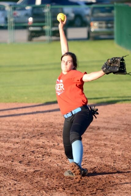 """PV pitcher Alisa St. John said it was """"very important"""" to throw a good game Tuesday, and she delivered a four-hit shutout. (Photo by B.J. Franklin/GungHo Photos)"""