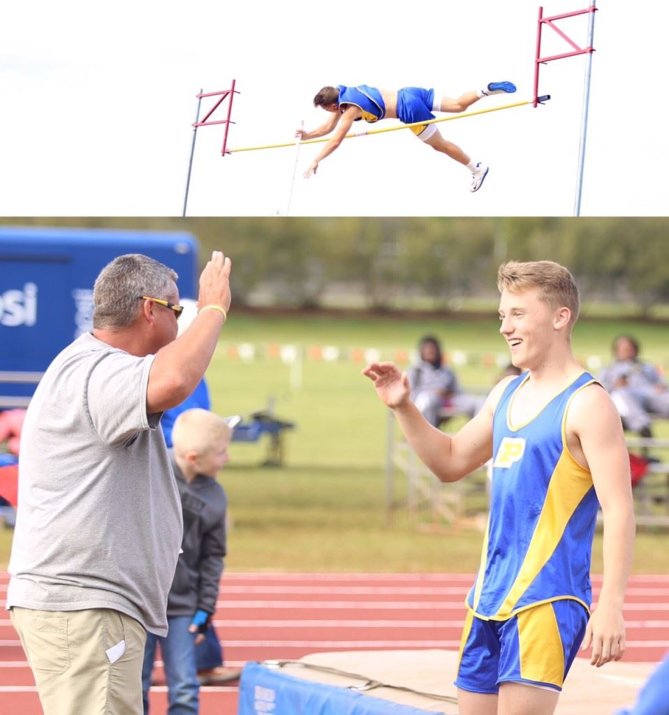Piedmont's Wil Mitchell clear the pole vault at 12-10 (top) and then gets a hearty high-five from his dad and coach Mark Mitchell after breaking the county record. (Photos by Kristen Stringer/Krisp Pics Photography)