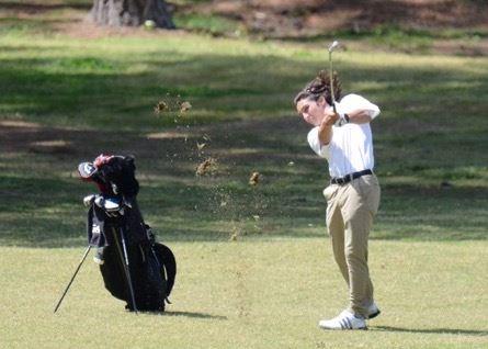 Oxford's Keaton Borrelli hits an approach shot during the final round of the Calhoun County Boys Golf Championship.
