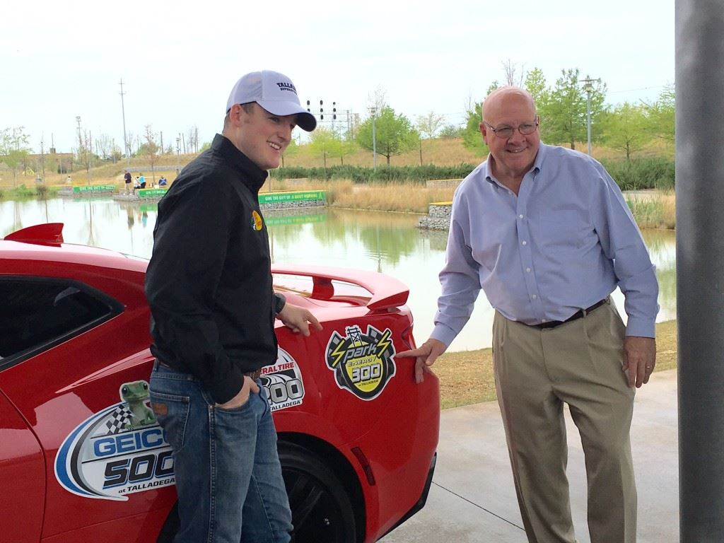 Ty Dillon (L) and Talladega Superspeedway chairman Grant Lynch stopped by Railroad Park last week on a promotional stop for the track's Geico 500 weekend April 29-May 1.