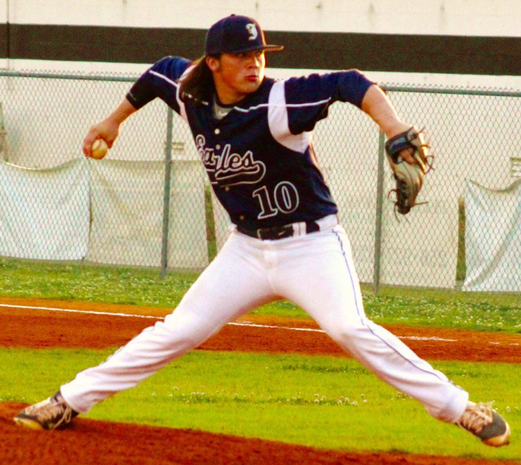 Jacksonville's Colin Casey delivers a pitch during the Golden Eagles' Class 4A playoff doubleheader at Cherokee County Friday night. (Photo by Shannon Fagan)