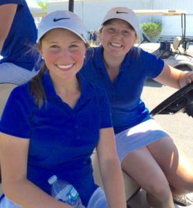 Sisters Layne (L) and Hanna Dyar are all smiles after finishing 1-2 in their Class 4A-5A girls sectional golf tournament Tuesday. (Photo by Justin Mallicoat)