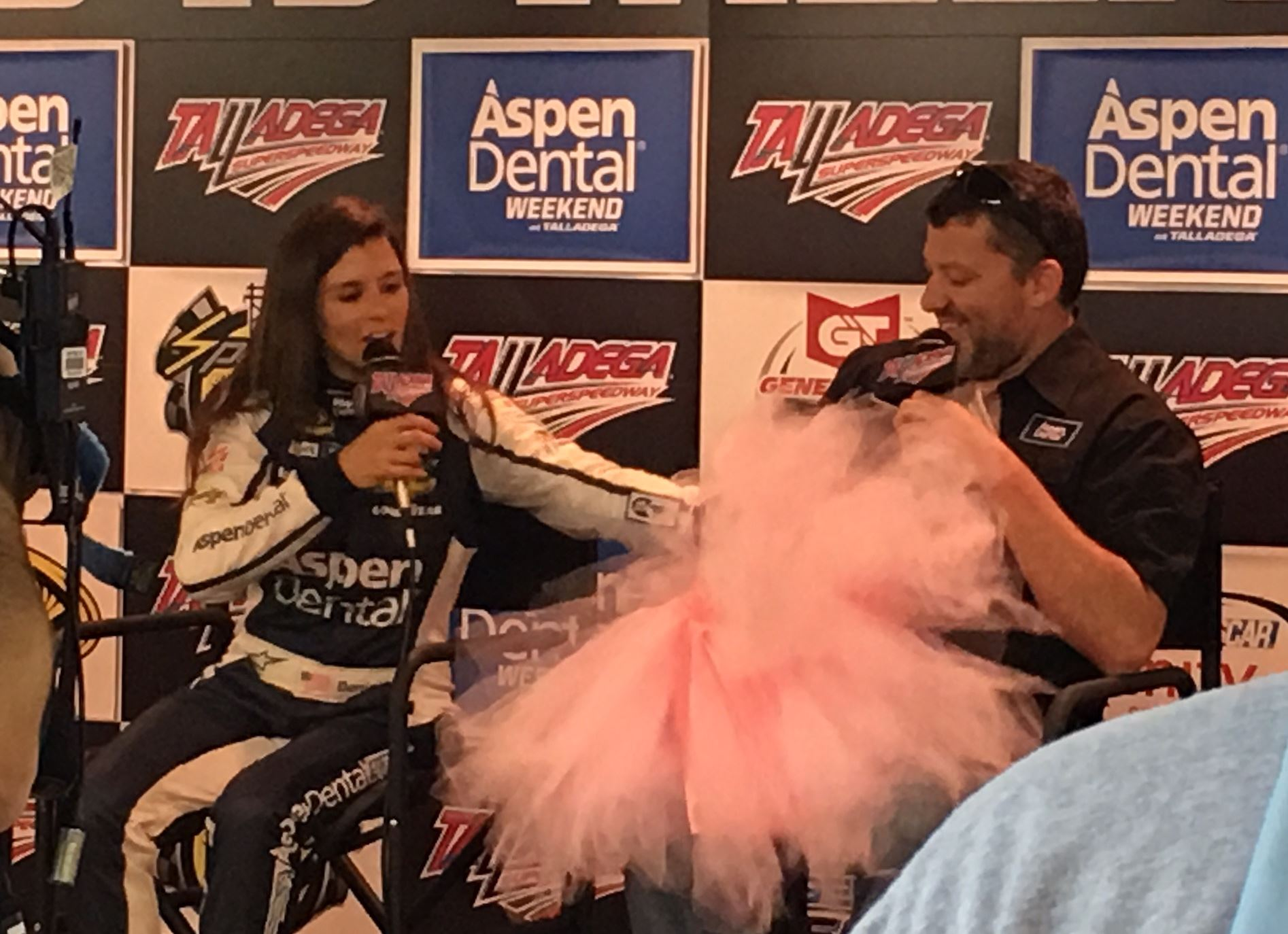 Sprint Cup drivers Danica Patrick and Tony Stewart share a light sponsor's moment before getting down to serious subjects like lugnuts, drivers councils and relief drivers.