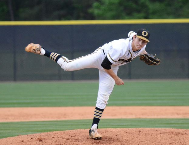 Oxford senior Trey Hopper delivers a pitch during the first game of Thursday's doubleheader with Pell City. Hopper took a no-hitter into the seventh inning of a game Oxford lost in the ninth. Hopper had a game-tying two-run single in the nightcap. (Photo by B.J. Franklin/GungHo Photos)