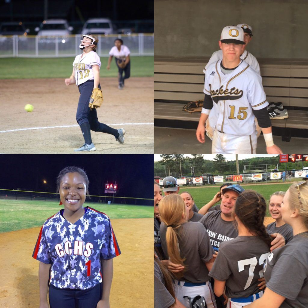 Local players on the North-South softball-baseball rosters include (clockwise from left) Oxford's Rylee Waldrep and Nate Lloyd, Pleasant Valley coach David Bryant and Cleburne County's Kiara Akles. (File photos)