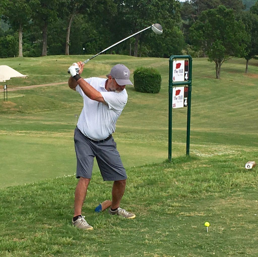 Gary Wilborn moves into his drive on the 6/15 tee at Anniston Municipal Golf Course.