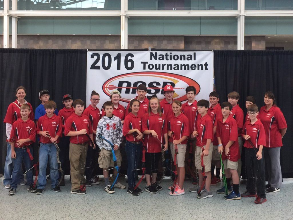 Munford Middle's Taylor Darby (fourth from right, front row) finished in the top 10 among sixth-grade girls at archery nationals.