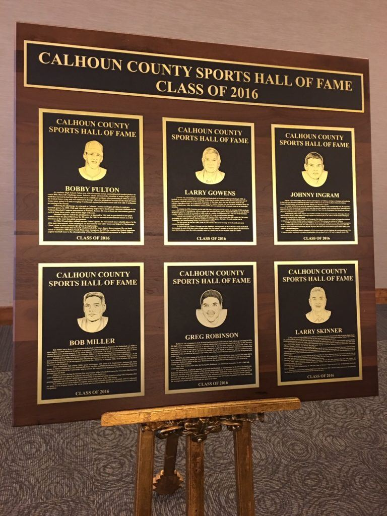 Six new members were enshrined into the Calhoun County Sports Hall of Fame Saturday night. (Cover photo by Ken Grissom)